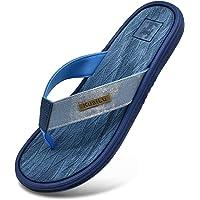 KUAILU Tongs Homme Été Plage Mode Souple Cuir plat Antidérapante Sandales avec Support Piscine Confortable Sport Flip…