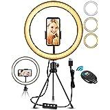 """ELEGIANT 10,2 """"stationär LED-fotografiljusring, trådlös fjärrkontroll stativringljus, 3 färger, 11 ljusstyrka, höjdjusterbar"""