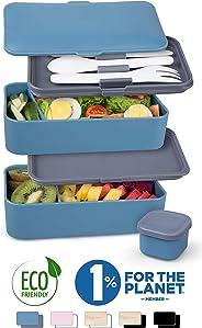 Umami Bento Original | Lunchbox Mit 2 Luftdichten Fächern Plus 3-Teiligem, Robusten Besteck | Geeignet Für Erwachsene Und Kin