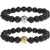 Suyi Lava Rock Beads Bracelet Basketball Nature Stone Bracelet Regalo per Uomo Ragazzi
