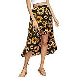 Falda Midi para Mujer Y2K Estampado Girasol Falda Mujer 90S Vintage Cruzada Cintura Alta Falda Verano Recta Casual