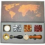 BITEYI Tampon de cire kit,Sceaux pour Cachet kit avec Perles de Cire d'étanchéité,Laiton Cachet Sceau,Cuillère à Cire,Coffret