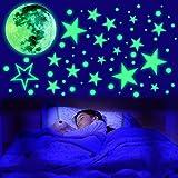 435 Points Lune et Etoiles Phosphorescentes Stickers Fluorescent Lumineux Autocollant Plafond pour Enfants Cadeau Décoration