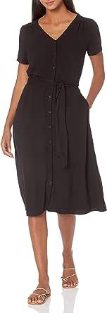 Amazon Essentials Vestito A Maniche Corte con Bottoni sul Davanti. Dresses Donna
