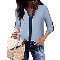 Damen 3/4 Ärmel Shirts Casual Chiffon Bluse Top mit V-Ausschnitt