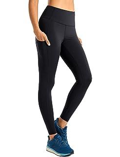 CRZ YOGA Womens High Waist Tummy Control Sports Yoga Shorts with Pocket 2.5 Inches