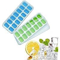 Bac à glaçons, 28 Compartiment Glaçons LFGB Silicone Certifié Glace Cube Tray Moisissures avec Couvercle Non-Déversement…