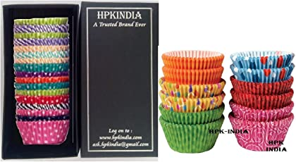 Bakeware Tools 100 pcs HPK-INDIA Baking Cups Paper Liners - Cupcakes Assorted Designs - hpk branded box pack (100)