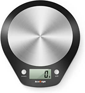 ACCUWEIGHT Bilancia Digitale da Cucina Bilance Alimenti Elettronica con Piattaforma in Acciaio Inossidabile per Pesa Cibo, Alta Precisione da 1g a 5 kg
