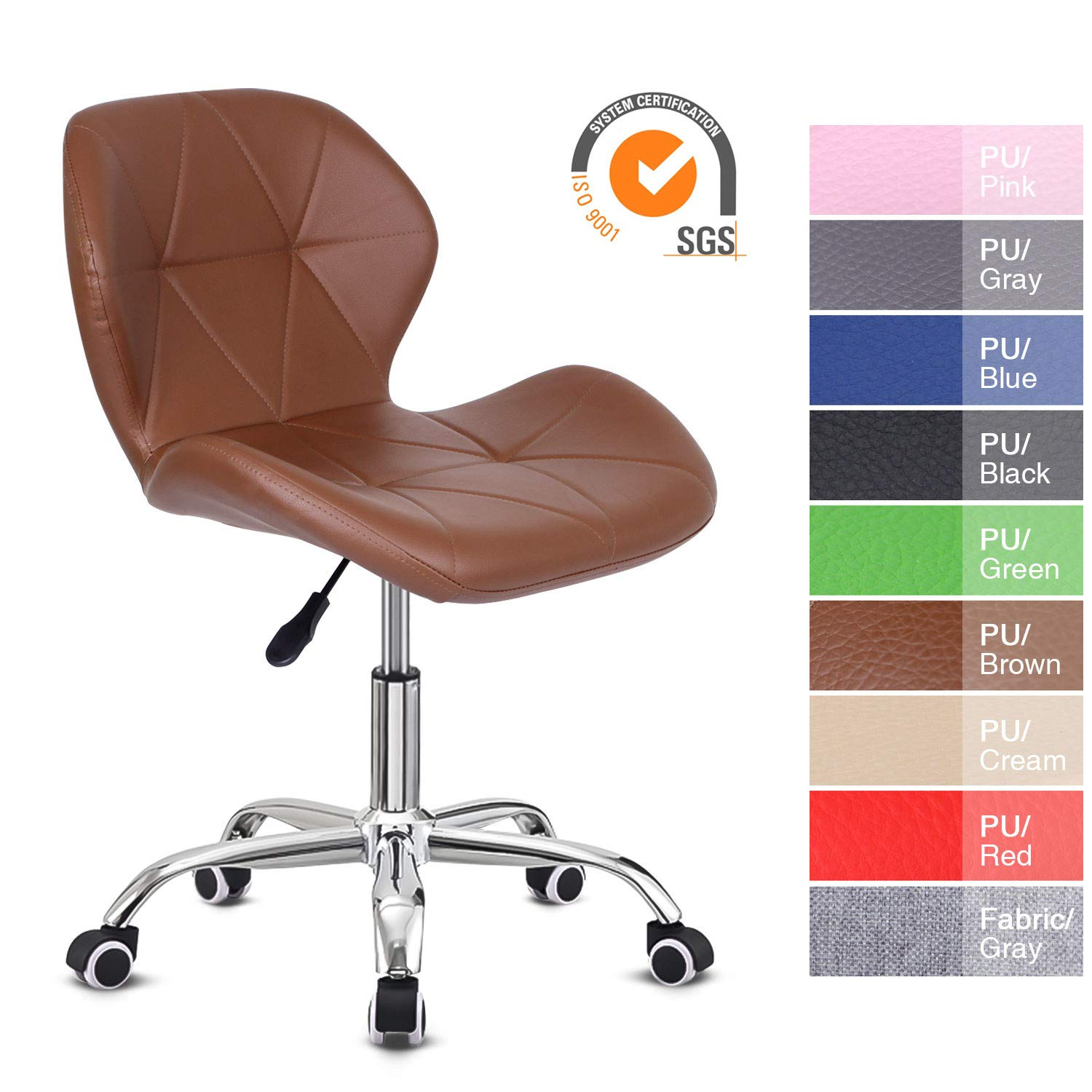 EUCO Office Chair,Brown PU Leather Desk Chair For Home