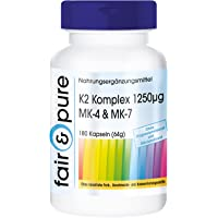 Complexe de K2 1250µg MK-4 & MK-7-180 gélules véganes - Ménaquinone MK-4 - Ménaquinone MK-7