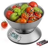 Uten Báscula Digital para Cocina,11 lbs / 5 kg, Acero Inoxidable, con Bol de Mezcla, Retroiluminación Blanca, Alarma y Sensor