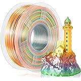 SUNLU Silk Rainbow Filament, Shiny Multicolor Gradient PLA+ Filament 1.75mm, 1kg(2.2lbs)/Spool 3D Filament for 3D Printer & 3