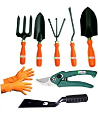 Easy Gardening - Garden Tools Kit (8Tools) Weeder,Trowel Big,Trowel Small,Cultivator,Fork, Pruner, Khurpi, Orange Gloves