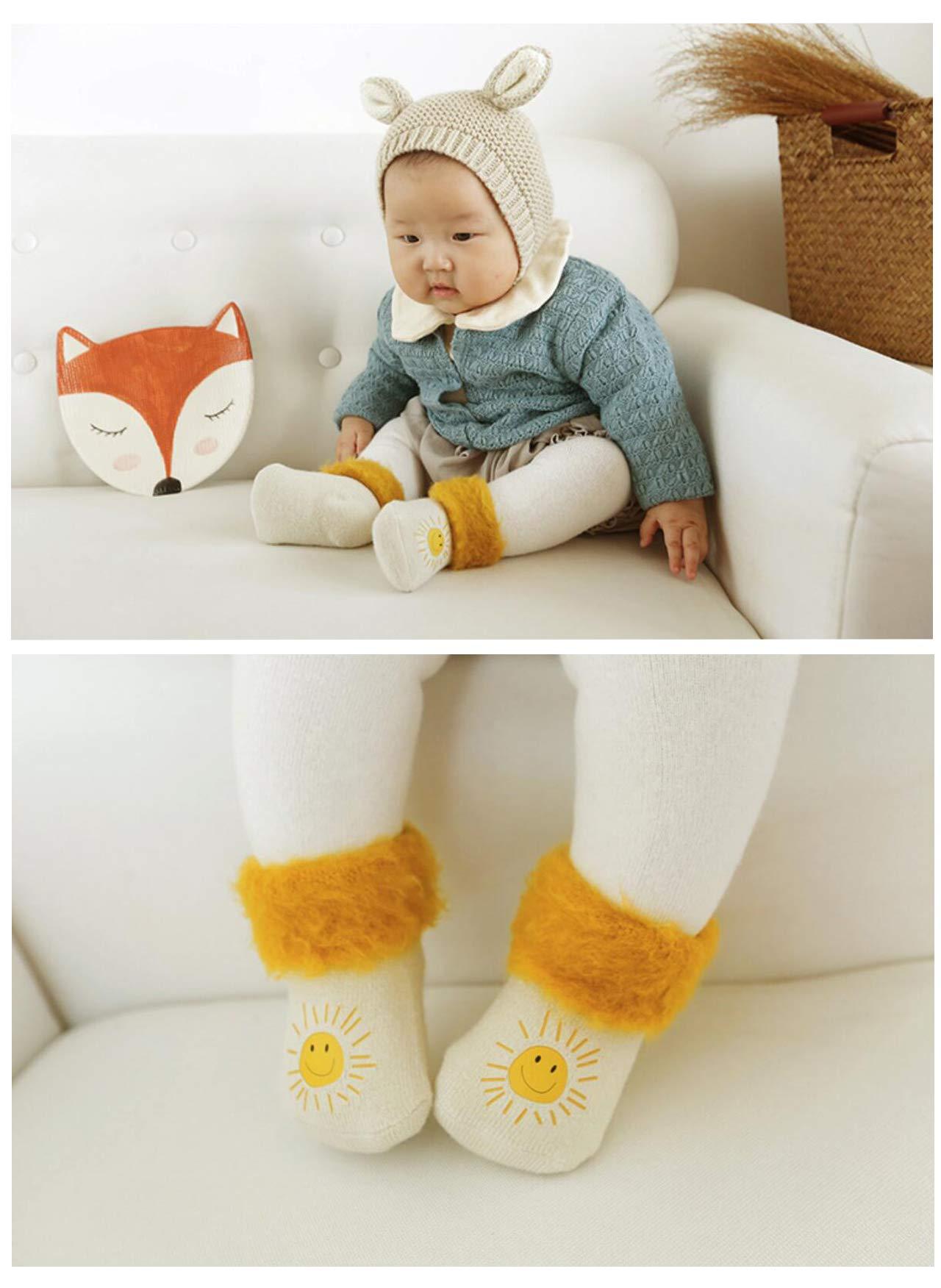 DEBAIJIA 3 Pares de Bebé Calcetines Extra Gruesos de Invierno Cálido Mullidos Vellón 0-5 años Niños Niñas Recién Nacidos… 2