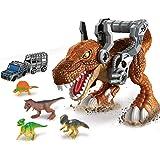 Brigamo Figura de dinosaurio T-Rex con figuras de dinosaurio y coche de juguete