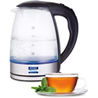 KENT Elegant Electric Glass Kettle (16052), 1.8L, Stainless Steel Heating Plate, Borosilicate Glass Body, Boil Drying…