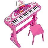 Simba 106830690 – My Music World stativtangentbord/31 knappar/med ljus och ljud/55 cm/rosa
