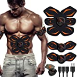 Electroestimulador Muscular, Abdominales Cinturón, Estimulador Muscular Abdominales, Masajeador Eléctrico Cinturón con USB, E
