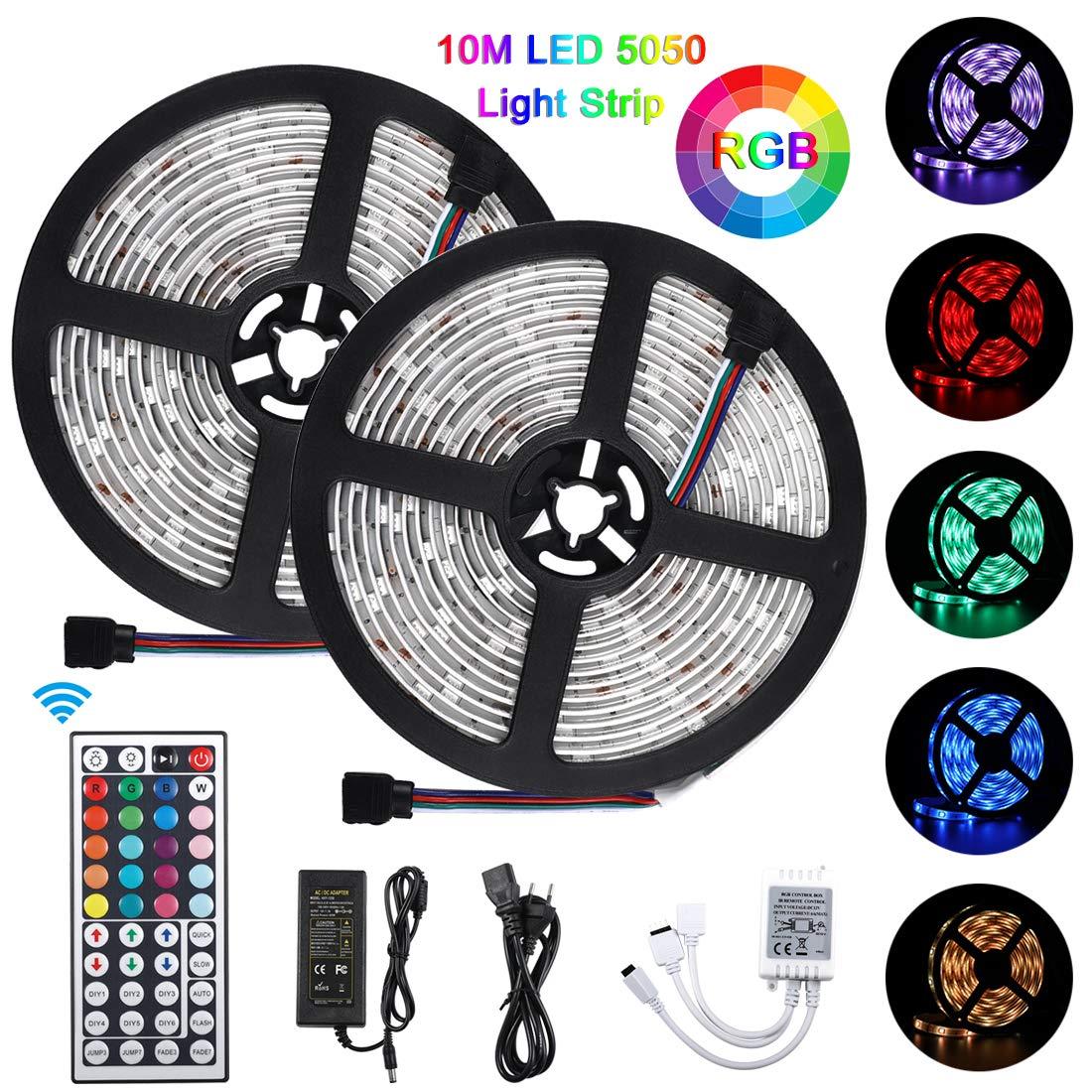10M Bluetooth Tiras LED Musical 5050 RGB, Akapola Tiras de Luces LED Iluminación con 12V 300 LEDS, Función Musical, Horario Personal, Control de APP y de Control Remoto, Impermeable IP65, Adaptador.