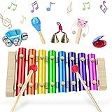Instrument de Musique Bébe,Xylophone Bebe, Glockenspiel 6 pièces,XylophoneEnBois,Percussion Drums en bois de xylophone, ens