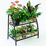 INDIAN DECOR. 6111 TwoTiered Indoor Outdoor Plant Stand, Plant Rack Shelf Holder, Patio or Garage Storage Rack, Shoe Organize