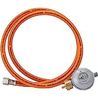 """BOGAPRO Set aus Propangasschlauch 150 cm und Gasdruckregler 50 mbar, Druckminderer Gas 1/4"""" Linksgewinde, Gasschlauch…"""