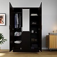 Artemis Collection by DF2H Tyche Engineered Wood 3 Door Wardrobe with Mirror, Wenge