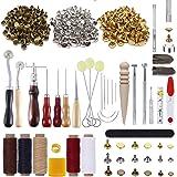 PUDSIRN - Kit de 336 outils pour le travail du cuir avec 303 boutons-pression pour le cuir - Pour percer le cuir, le meulage,