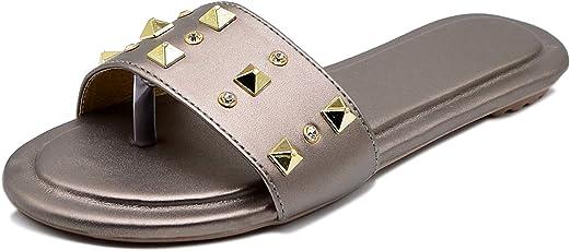 Midsole Women's Slide Embellished Metal Fashion Sandals | Slippers | Flats (FT5011C)