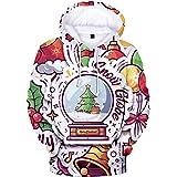 YIMIAO Christmas Unisex Sudadera con Capucha 3D Printed Navidad Sweatshirt para niños niñas Bolsillo Canguro Hoodies para Hom