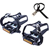 COZYROOMY Bike Pedals with Clips and Straps, for Exercise Bike, Spin Bike And outdoor bicycles, 9/16-Inch Spindle Resin/Alloy