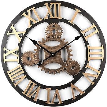 Tosbess Horloge Pendule Murale en métal Style Vintage - diamètre 58 cm- (4  Gears 1cc82b88b866