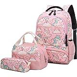 Mochila Escolar Unicornio Niña Infantil Adolescentes Sets de Mochila Backpack Casual Set con Bolsa del Almuerzo y Estuche de