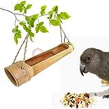 LIVEONCE Bamboo cage Open Bird Feeder Color -Natural