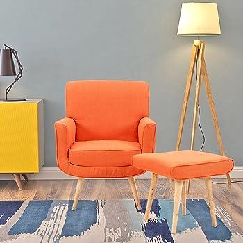 Amazon.de: Designer-Sessel mit Hocker, schlicht, modern, Stoff ...