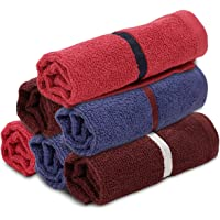 Palatial Lifestyles® 6 Piece Face Towel Set.Ultra-Soft for Sensitive Skins,Highly Absorbent & 100% Cotton Zero Twist Towels,Size 12 X 12 Inch(Chocolate Brown, Red & Blue)