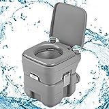 GOPLUS 20L Toilette Portable WC Chimique Mobile pour Camping Caravanes Hôpital Voyage en HDPE 41x35x41 Gris/Vert