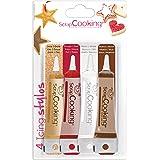 ScrapCooking - 4 Icing Stylos à Pâtisserie : Or, Choco, Blanc & Rouge - Crayons Alimentaires Comestibles Décoratifs Colorants