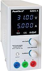 PeakTech Präzises 0-30V / 0-5A DC Labornetzgerät, regelbar, stabilisiertes Schaltnetzteil mit hochauflösender Digitalanzeige (10 mV und 1 mA), 1 Stück, P 6225 A
