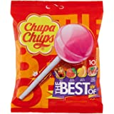 Chupa Chups Lecca Lecca The Best Of, Lollipop Frutti Assortiti Gusto Cola, Fragola, Arancia e Panna Fragola, senza Glutine, B