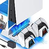 OIVO Support PS5 avec Ventilateur de Refroidissement at EU-Adaptateur pour PS5 console, Chargeur Manette PS5 avec Indicateur