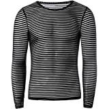 inlzdz Men See-Through Mesh Striped Short/Long Sleeve Tops T-Shirt Training Shirt Running Sportswear