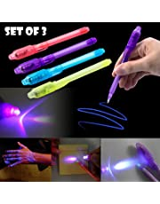 Party Propz 3 Pack Invisible Ink Pen with UV Light, Magic Marker Spy Pens for Kids Toy Best Gift (Multi)