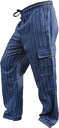 SHOPOHOLIC FASHION Unisex Multicolour Stripes Wideleg Sidepocket Hippy Trouser