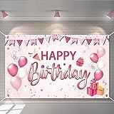 YUQIN Decorazioni Compleanno,Compleanno Poster in Tessuto Sfondo,Compleanno Photo Booth Fondale,per Giardino Tavolo Parete De