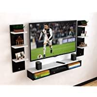 DAS Engineered Wood Wall Mount TV Entertainment Unit with Set Top Box Stand and 6 Wall Shelves - Ideal for up to 48…