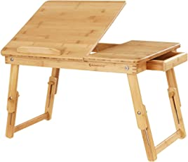 Songmics Höhenverstellbarer Laptoptisch mit Schublade, klappbarer Notebooktisch aus Bambus, Betttisch für Lesen oder Frühstücks, Zeichentisch und Esstisch für Bett 55 x (21-29) x 35 cm (B x H x T) LLD01N, Natur