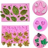 Lot de 5 Feuille Fondant Moule en silicone 3d en forme de mini Feuille d'érable Rose Laisse DIY Outil de décoration…