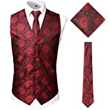 JOGAL Men's 3pc Classic Paisley Floral Jacquard Waistcoat&Necktie and Pocket Square Vest Set for Suit or Tuxedo